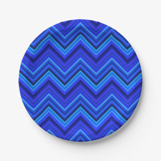 Blue stripes zigzag pattern 7 inch paper plate