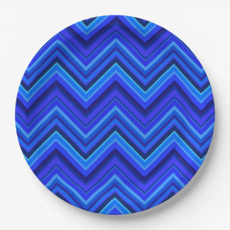 Blue stripes zigzag pattern 9 inch paper plate