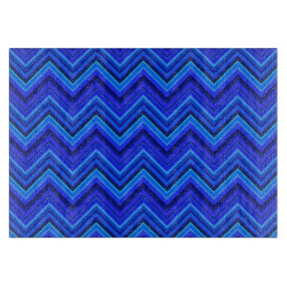 Blue stripes zigzag pattern cutting board