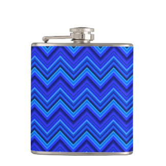 Blue stripes zigzag pattern hip flask