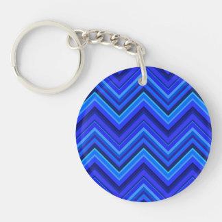 Blue stripes zigzag pattern key ring