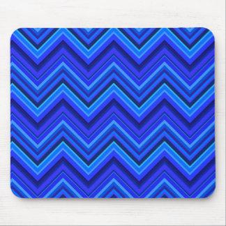 Blue stripes zigzag pattern mouse pad