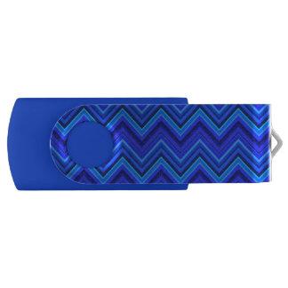 Blue stripes zigzag pattern USB flash drive