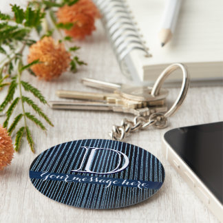 Blue stripy custom text gifts basic round button key ring