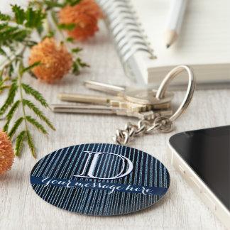 Blue stripy custom text gifts keychain