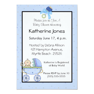 "Blue Stroller Baby Shower 5"" X 7"" Invitation Card"