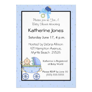 Blue Stroller Baby Shower Announcements
