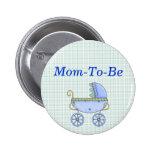 Blue Stroller Baby Shower Mummy Pin Button