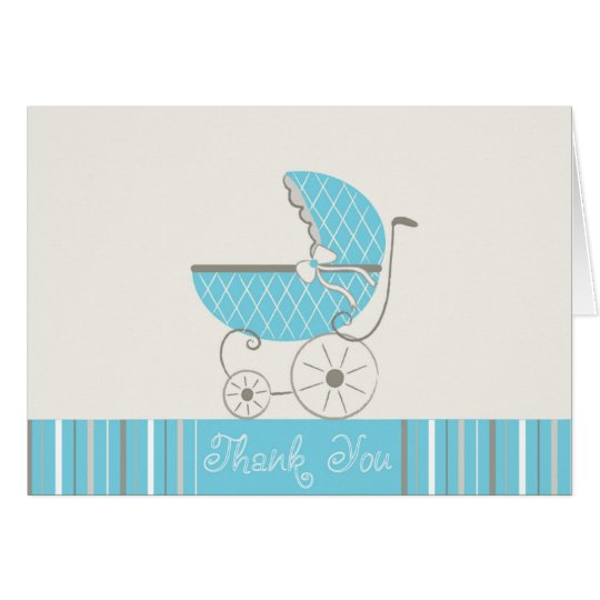 Blue Stroller Baby Shower THANK YOU Card