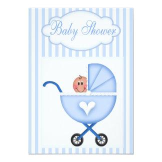 Blue Stroller  Boy Shower  Invitation