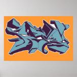 Blue STYLE graffiti Print