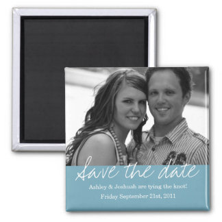 Blue Style Save The Date Photo Magnet