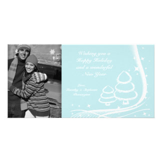 Blue stylish christmas trees holiday photocard photo card