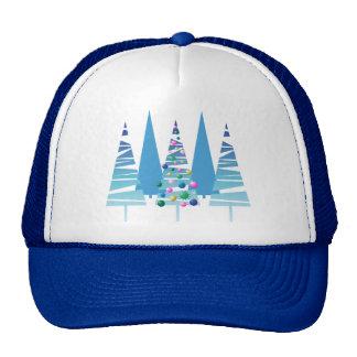 Blue Stylized Christmas Trees Trucker Hats
