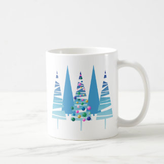 Blue Stylized Christmas Trees Mug