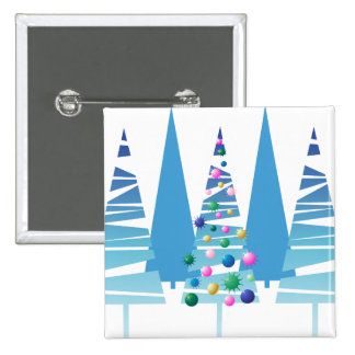 Blue Stylized Christmas Trees Pinback Buttons