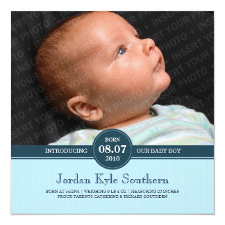 Blue Subtle Stripe Baby Boy Birth Announcement