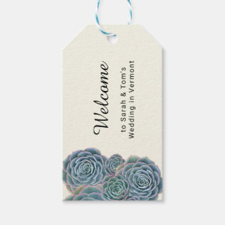 Blue Succulent Welcome Wedding Event Favour Tags