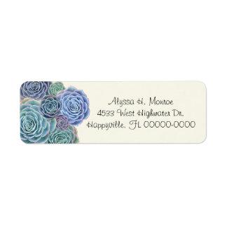 Blue Succulents Skinny Return Address Labels