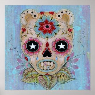 Blue Sugar Skull Canvas Poster