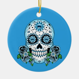 Blue Sugar Skull Ceramic Ornament