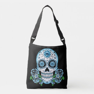 Blue Sugar Skull Crossbody Bag