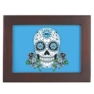Blue Sugar Skull Keepsake Box