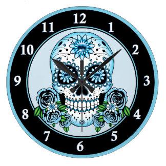 Blue Sugar Skull Large Clock