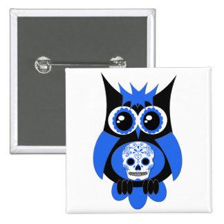 Blue Sugar Skull Owl Button