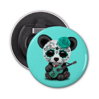Blue Sugar Skull Panda Playing Guitar Bottle Opener