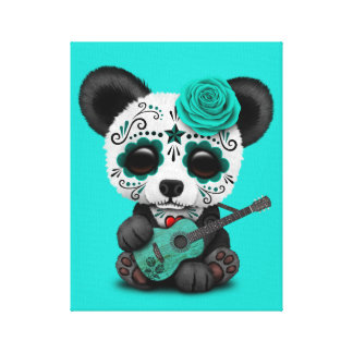 Blue Sugar Skull Panda Playing Guitar Canvas Print