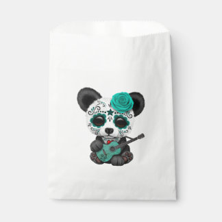 Blue Sugar Skull Panda Playing Guitar Favour Bag