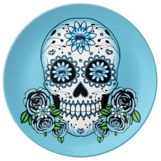 Blue Sugar Skull Plate