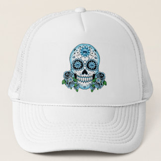 Blue Sugar Skull Trucker Hat