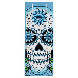 Blue Sugar Skull Wine Gift Bag