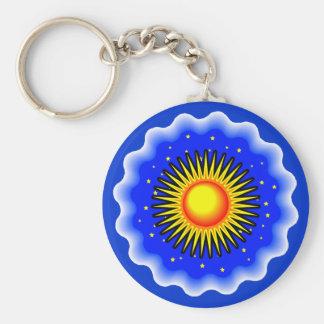 Blue Sun Basic Round Button Key Ring