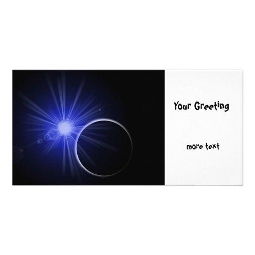 Blue Sun Black Planet Personalized Photo Card