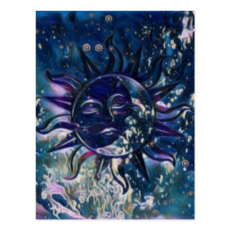 Blue Sun Moon Postcard