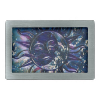 Blue Sun Moon Rectangular Belt Buckles