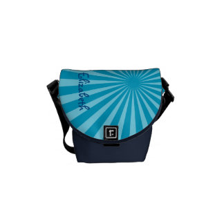 "Blue Sunburst ""Add Your Name"" Commuter Bags"