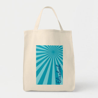 """Blue Sunburst """"Add Your Name"""" Grocery Tote Bag"""