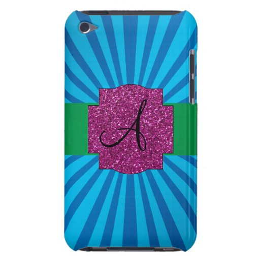 Blue sunburst monogram barely there iPod cover