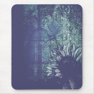 Blue Sunflower Grunge Dove in Flight Mouse Pad