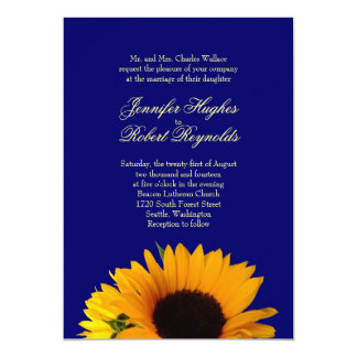 Blue Sunflower Wedding Invitation