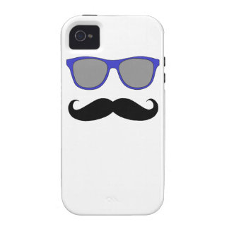 Blue Sunglasses and Black Moustache iPhone 4 Case