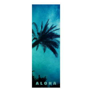 Blue Sunset Aloha Hawaii Palm Trees Tropics Travel Poster