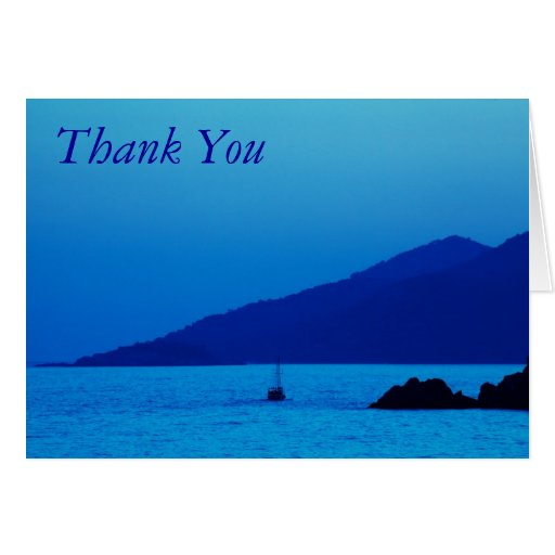 blue sunset and boat thank you note card