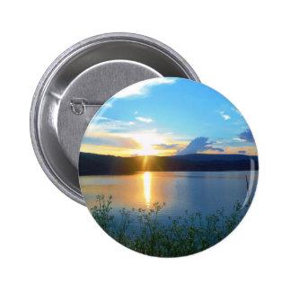 Blue sunset on lake pinback buttons