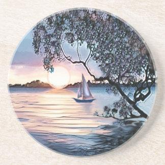 Blue Sunset Over Lake Sailboat Coaster