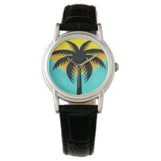 BLUE SUNSET PALM TREE WRIST WATCH